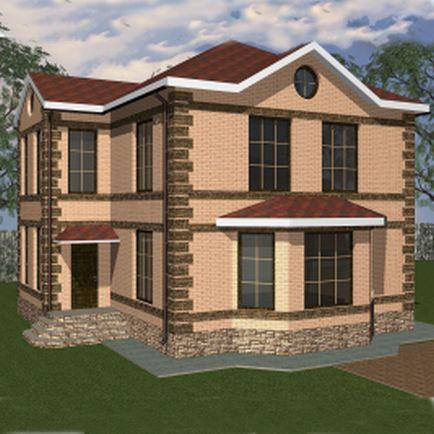 Дачный домик 7,4 на 8 м с террасой — Проект